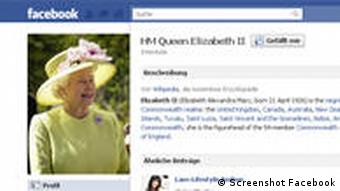 Screenshot of Queen Elisabeth's Facebook page.