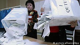 Ballot boxes being emptied