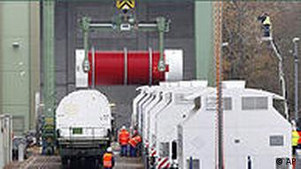 Trains cars are loaded with nuclear waste
