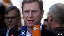 German Foreign Minister Guido westerwelle speaks during a tour of a water treatment project funded by the German government in Gaza city, Monday, Nov. 8, 2010. Westerwelle is on a 2-day visit to the region. (AP Photo/ Hatem Moussa)