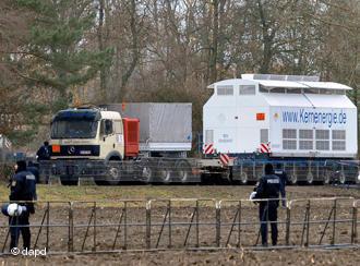 Trucks carry atomic waste
