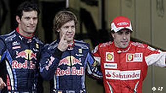 From left: Mark Webber, Sebastian Vettel, Fernando Alonso