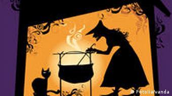 Eine Hexe rührt in einem Feuertopf