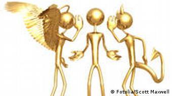 Symbolbild für die Wahl zwischen Gut und Böse: ein Strichmännchen steht zwischen einem Engel (links) und einem Teufel (rechts)