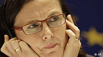 The EU Home Affairs Commissioner Cecilia Malmstroem speaks during a press conference in Bosnian capital of Sarajevo, on Friday, Nov. 12, 2010.