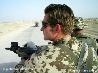 German Bundeswehr soldiers on patrol in northern Afghanistan