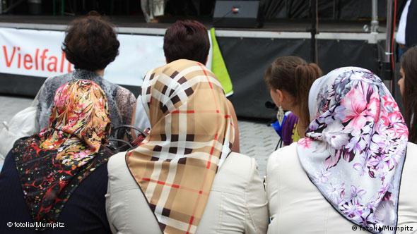 Three women in headscarves
