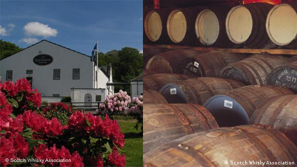 The Glengoyne distillery and barrels of whisky