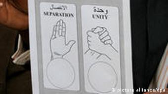 A voting form for the upcoming Sudan referendum