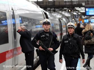 Police patrol the main train station in Cologne