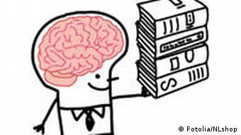 A drawing of a stick figure, his brain clearly visible, holding a stack of books