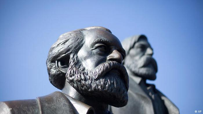 Detail of the Karl Marx and Friedrich Engels monument in Berlin (AP)