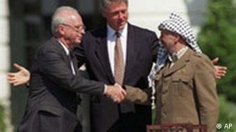 Rabin aperta a mão de Arafat, com Clinton no meio dos dois