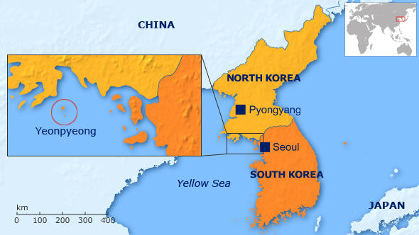 Map of South Korea showing the island of Yeonpyeong
