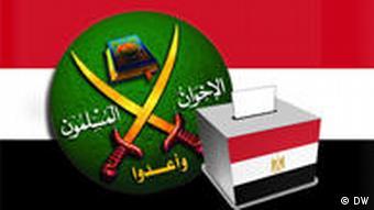 Bildmontage aus dem Logo der Muslimbrüder in Ägypten und einer Wahlurne mit ägyptischer Flagge (Grafik: DW/FLorian Meyer)