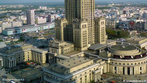 English: Palace of Culture and Science in Warsaw. View from Warsaw Financial Center. Zulieferer: Kate Bowen