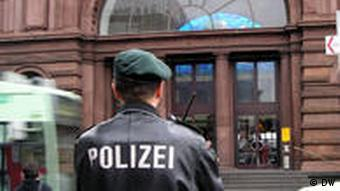 A police officer on patrol in Bonn's city center