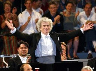 The Berlin Philharmonic, directed by Sir Simon Rattle (shown here), has turned itself into a public foundation, helping to shield it from money troubles.