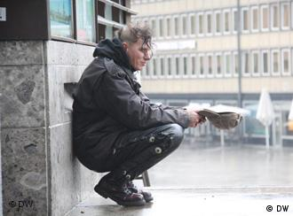 A homeless man in Cologne, Germany