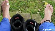 Füße und Stiefel vom holländischen Pilger Wijnand Boon