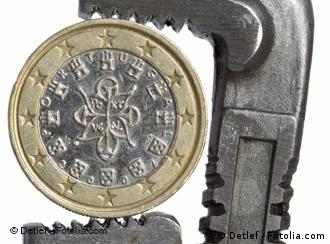 Portuguese euro in a wrench