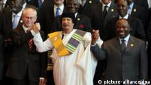 Muammar Gadaffi Herman van Rompuy und Ali Bongo beim EU Afrika Gipfel