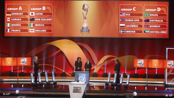 The groups are shown on a giant screens during the draw