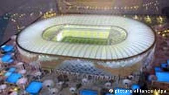 A model of the Qatar University stadium that will be built for the 2022 football world cup