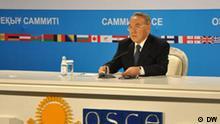 Nursultan Nasarbajew, der Präsident von Kasachstan, während OSZE-Gipfel in Astana, am 2. Dezember 2010 Autor: Michail Bushuev, Redakteur DW-Russisch