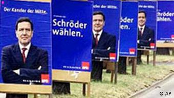 Election posters encouraging voters to choose Schröder in 2002