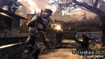 An video game character runs and shoots in Crytek's upcoming Warface