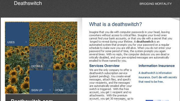 Screenshot Deathswitch http://www.deathswitch.com/