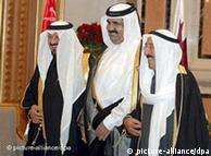 عکس از آرشیو: (از چپ) امیر کویت، امیر قطر و سلطان بن عبدالعزیز، شاهزادهی سعودی
