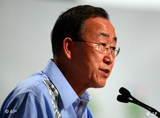 U.N. Secretary-General Ban Ki-Moon delivers a speech during the United Nations Climate Change Conference in Cancun, Mexico, Sunday Dec. 7. (AP Photo/Israel Leal)