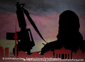 Illustration shows a shadow of a hooded man with an assault rifle and outlines of Berlin landmarks