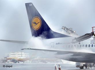 A Lufthansa plane being de-iced