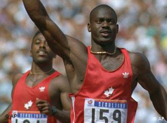 FILE -- Canada's Ben Johnson gives a number one sign after setting a world record for the men's 100-meter and winning a gold medal at the Seoul Summer Olympics, in this Sept. 24, 1988 photo. Teammate Desai Williams approaches in the background. Johnson is gone for good from track and field. The International Amateur Athletic Federation rejected a petition to allow Johnson to return to competition. The IAAF said the ruling was final, with no possibility of an appeal. (AP Photo/Dieter Endlicher)