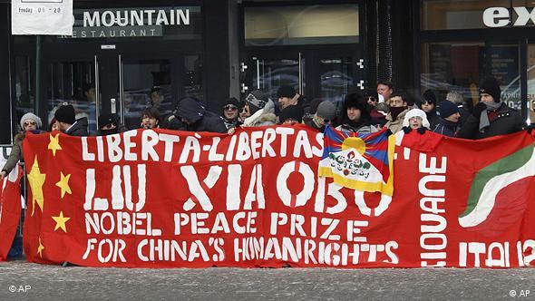 Anhänger des Friedensnobelpreisträgers demonstrieren in Oslo (Foto: AP)