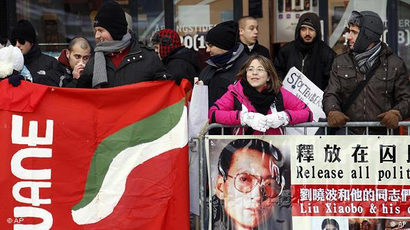 Norwegen China Friedensnobelpreis Verleihung an Liu Xiaobo in Oslo Kundgebung Flash-Galerie