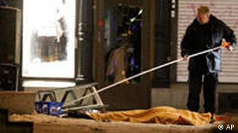 Police forensics expert at the scene of an explosion in Stockholm