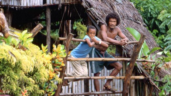 Indigenous Carib Indians on a balcony in the Carib Territory, Dominica.