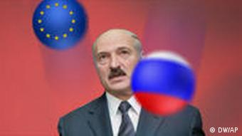 Montage of Lukashenko juggling balls resembling the EU and Russian flags