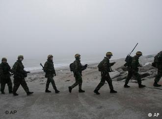 South Korean marines on Yeonpyeong island near the disputed sea border with North Korea