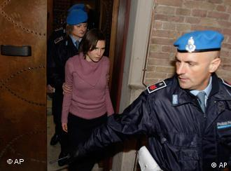 Convicted U.S. student Amanda Knox arrives after a break to attend a court session ahead of the Saturday hearing