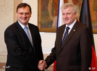 Czech Prime Minister Petr Necas welcomes Bavarian premier Horst Seehofer to Prague