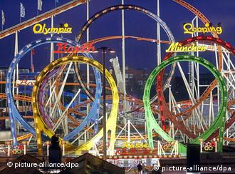 The colored arches of the Olympia Looping roller coaster