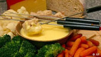A cheese fondue