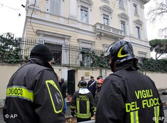 Firefighters in front of Greek embassy in Rome