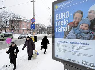 Poster in Tallinn, reading: Euro is our money
