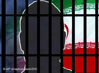 A face behind bars with the Iranian flag in the background